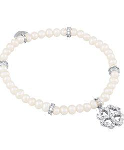 Bracciale Mabina con Quadrifoglio in Argento e Perle