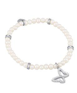 Bracciale Mabina con Farfalla in Argento e Perle