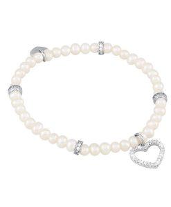 Bracciale Mabina con Cuore in Argento e Perle