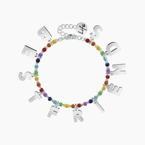 Bracciale Kidult con palline colorate e ciondoli pendenti BEST FRIENDS