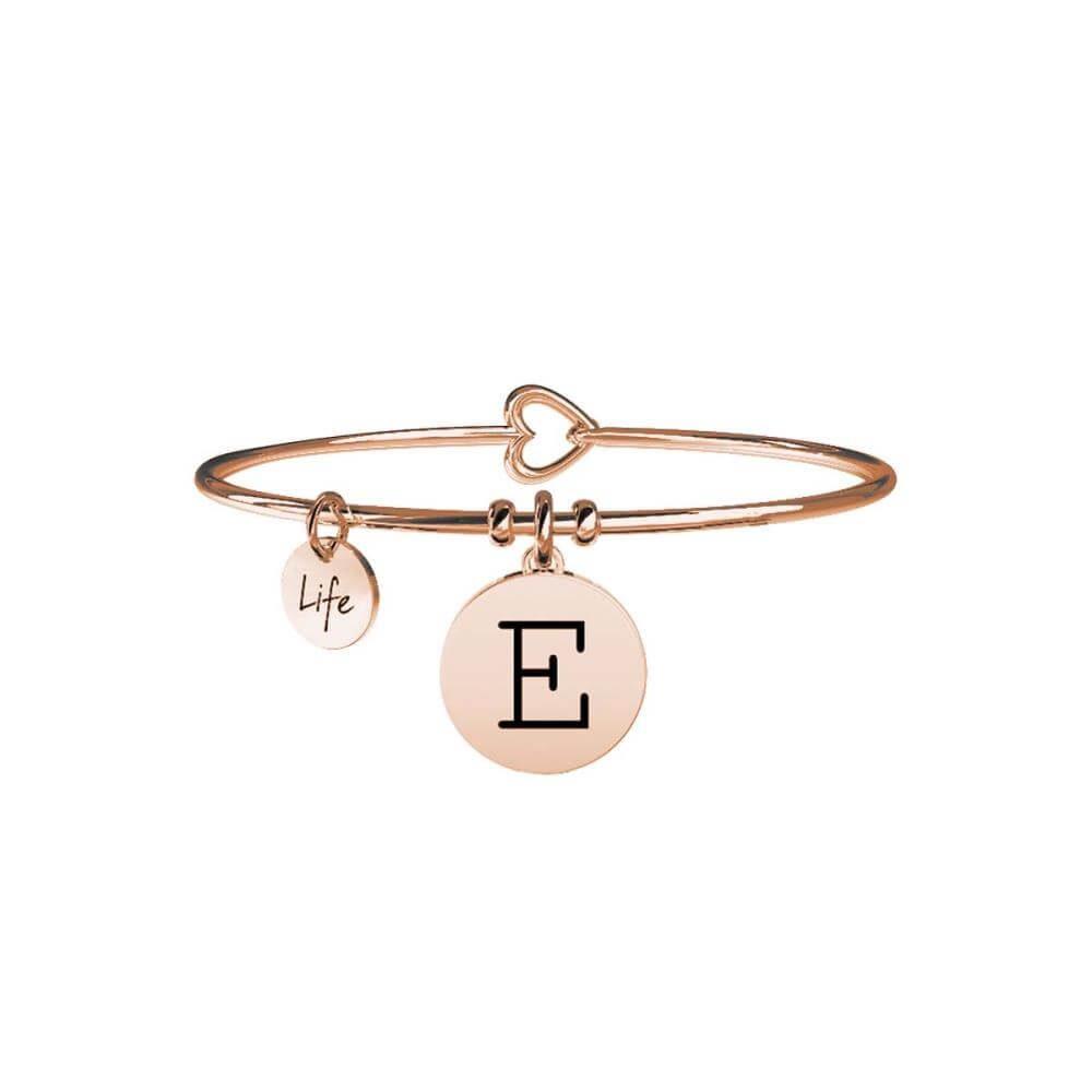 Bracciale Kidult con Lettera E in Acciaio Rose Gold