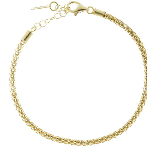 Bracciale con catena pop corn in argento dorato UNOAERRE