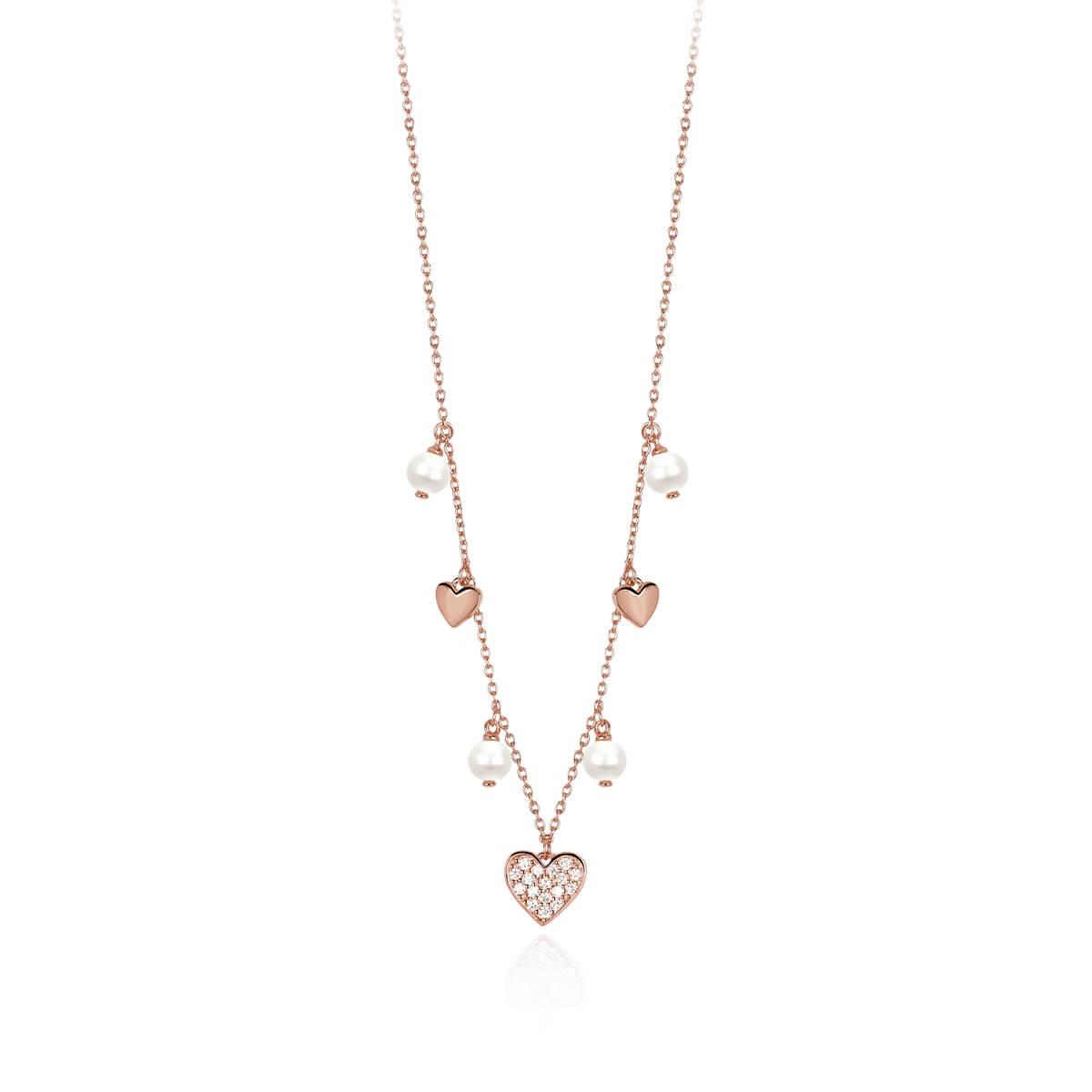 molto carino 78322 dc094 Collana Mabina con Cuori e Perle in Argento Rosato - 553284