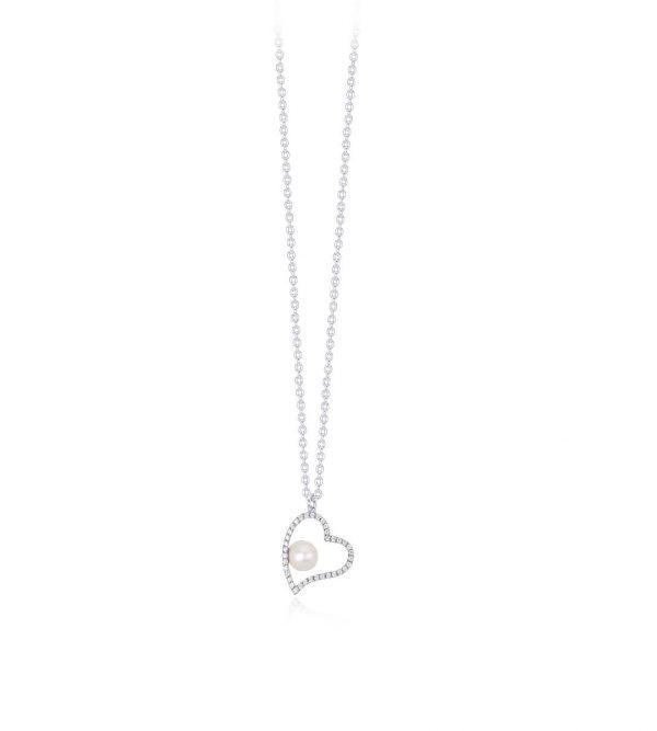 Collana Mabina in Argento e Perla con Cuore 553261